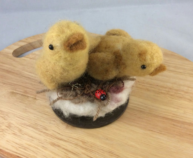 Needle Felted Young Chicks