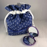 Nautical Make-up Bag with Purple Shell Pocket Mirror
