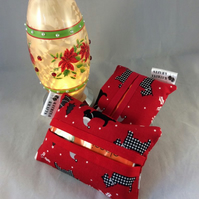 Pocket Tissue Holder - Christmas Scottie Dog