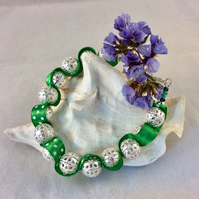 Silver Filigree and Green Ribbon Bracelet