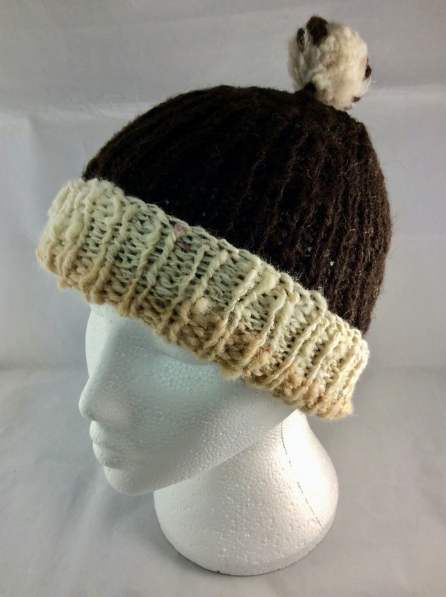 Knitted Hand Spun Woolly Hat