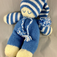Hand Knitted Sleeping Doll in Blue