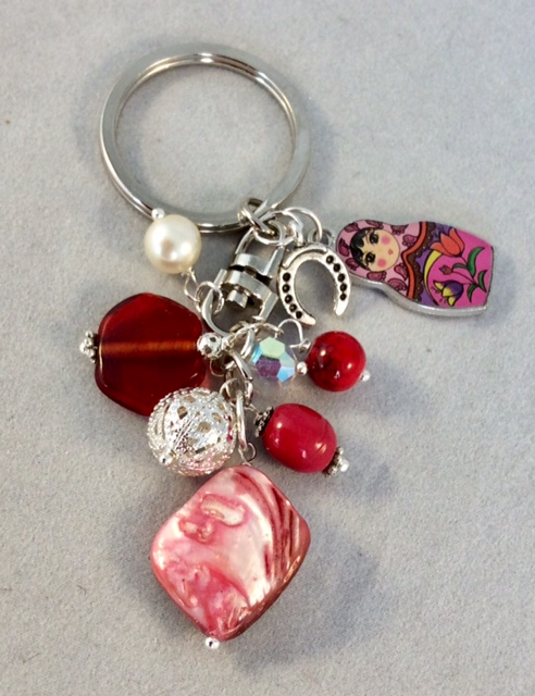 Pink Bag Charm with Russian Doll Charm