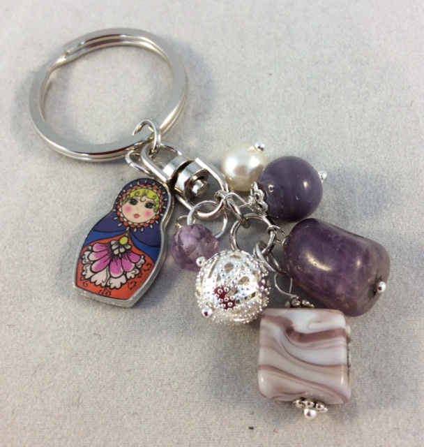 Mauve Bag Charm with Russian Doll Charm