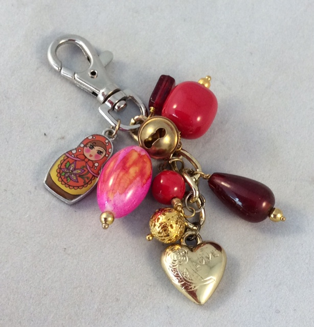 Red Bag Charm with Heart Charm.