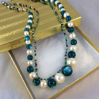 22 inch Double Strand Pearl & Green Murano Beaded Necklace
