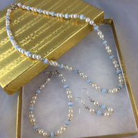 Baby Blue Murano and Pearl Necklace, Bracelet & Earring Trio