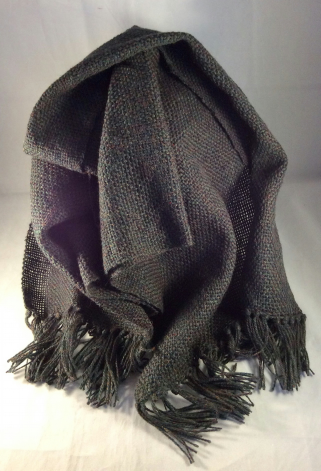 Handwoven Dark Green Scarf