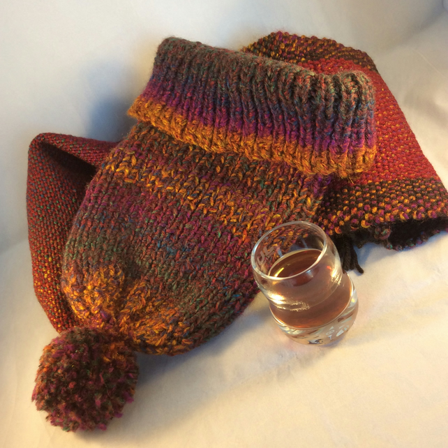 Multicoloured Hand Woven Scarf And Matching Knitted Hat
