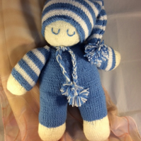 Knitted Sleeping Doll in Blue