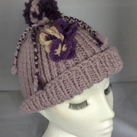 Lilac Soft Merino Knitted Pom Pom Hat with Butterflies
