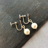 Screw On Pearl Drop Earrings