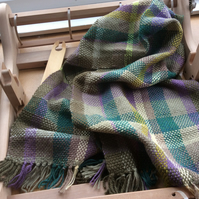 Hand Woven Green and Brown Check Scarf