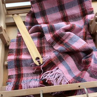 Hand Woven Pink and Red Check Scarf