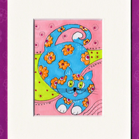 ACEO Original Whimsical blue cat with orange flowers in ACEO mount, signed
