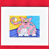 ACEO original whimsical pink cat with blue swirls illustration in a mount