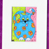 ACEO original whimsical  sitting blue cat with orange flowers in card mount