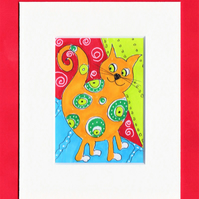 ACEO original Whimsical orange cat with green circles illustration