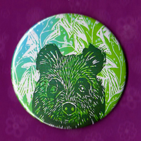 Pocket Mirror, Canadian Brown Bear Lino Print Design , compact mirror