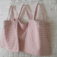 Handmade Recycled Pink & White Check Cotton Bag