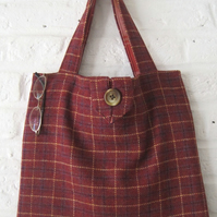 Handmade Recycled Rust Tweed Bag