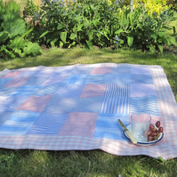 Recycled Handmade Pinks and Blues Picnic Rug