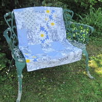 Recycled Handmade Blue White Toile de Jouy Picnic Rug