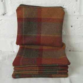 Handmade Recycled Soft Wool Checked Pouch