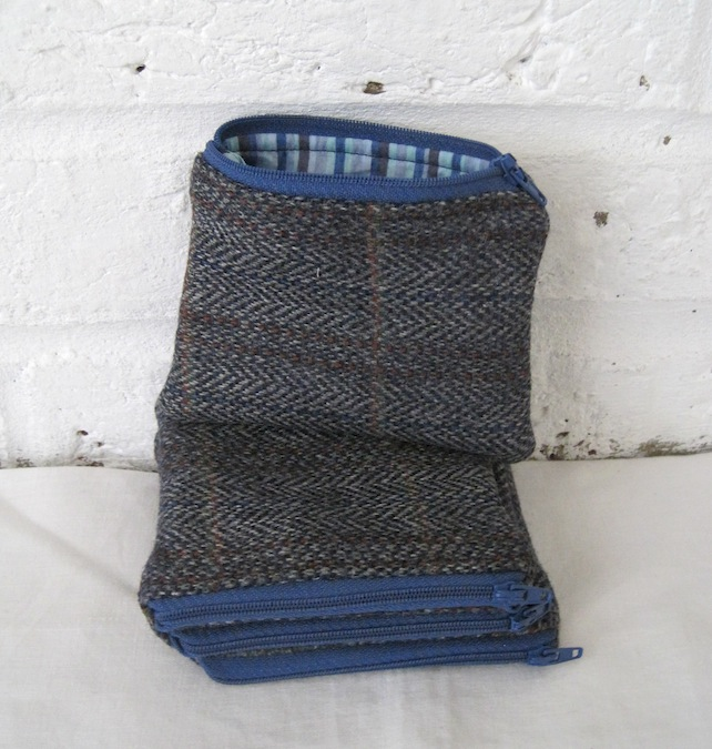 Handmade Recycled Blue Tweed Pouch