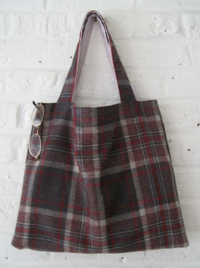 Handmade Recycled Grey Red Check Wool Bag