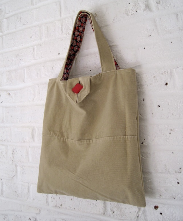 Handmade Recycled Sand Needlecord Bag