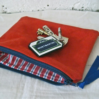 Handmade Recycled Bright Red Canvas Pouch