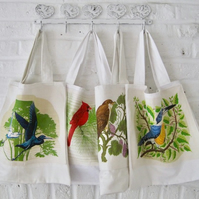 Handmade Recycled Bright Birds Bags