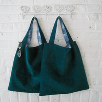 Handmade Kingfisher Green Corduroy Bag
