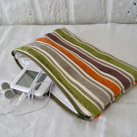 Handmade Recycled Striped Pouch