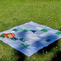 Handmade Recycled Blues & Greens Picnic Rug