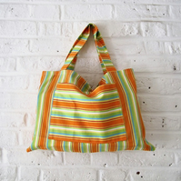 Handmade Recycled Bright Striped Bag