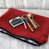 Handmade Recycled Bright Red Corduroy Pouch