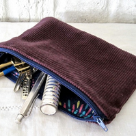 Handmade Recycled Purple Corduroy Pouch