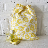 Handmade Recycled Spring Yellow Wash Bag
