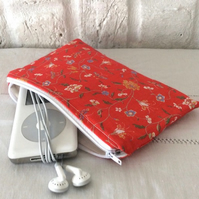 Handmade Recycled Vintage Red Flowers Pouch