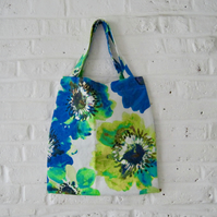 Handmade Recycled Blues & Greens Bag
