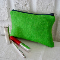 Handmade Recycled Bright Green Lined Pouch