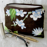 Handmade Recycled Brown Botanical Pouch