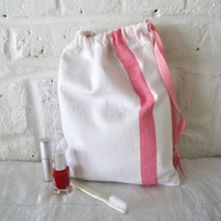 Handmade Recycled French Linen Wash Bag