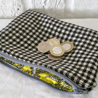 Handmade Recycled Black & White & Yellow Pouch
