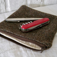 Handmade Recycled Brown Blanket Pouch