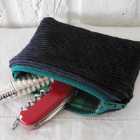 Handmade Recycled Little Navy Corduroy Pouch