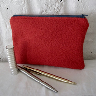 Handmade Recycled Red Wool Pouch