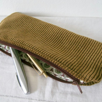 Handmade Recycled Chestnut Corduroy Pouch